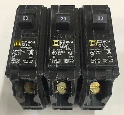 Square D Hom120 Breakers Lot Of 3