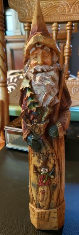 Wood 1998 Hand-Carved Folk Art Wood Santa Claus
