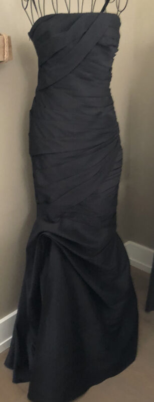 Monique Lhullier Strapless Ruched Faille Mermaid Gown Long Black Formal Dress 6