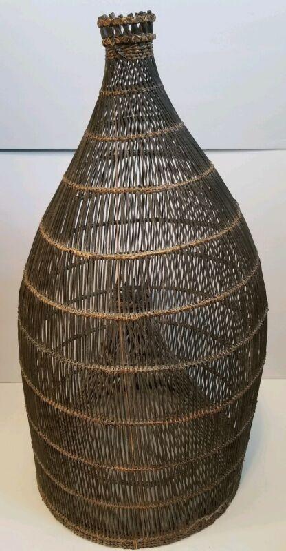 Vintage Primitive Fish Trap/ Basket Thai-style 3 ft. shade decor collectible