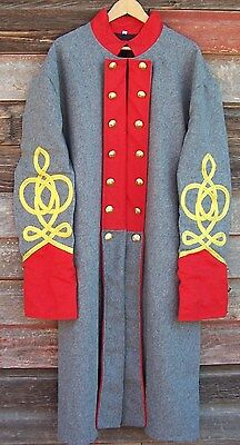 civil war confederate artillery frock coat with 4 row braids 52