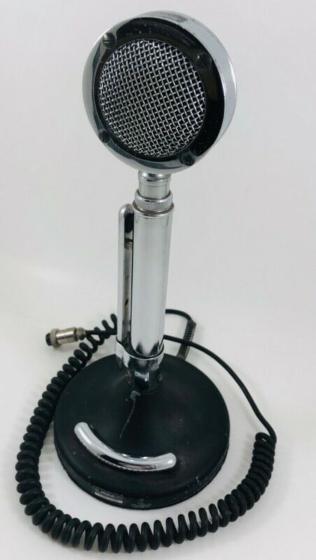 *Tested* lollipop Astatic D-104 T-up9 Stand Mic Vintage CB 4 point chrome, Nice.