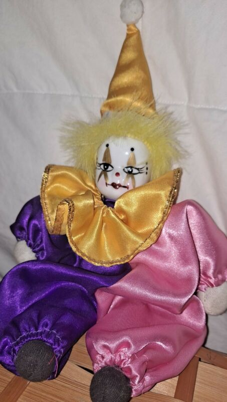 """Vintage Porcelain Head Clown Doll Artmark By Chicago Doll 10"""" Collectible Circus"""