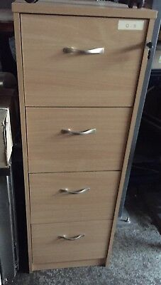 Wood Finish 4 Draw Filing Cabinet With Keys foolscap Pine Effect
