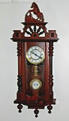Vintage Wooden Wall Clock R A Pendulum & Horse Top Overall Works 32 tall Ornate