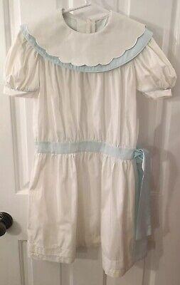 Light Blue Dress For Girl (Vintage Lynley designs Girl's Size 6X White/Light Blue Dress scallop collar)