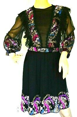 New NWT Costarellos Embroidered Hand Painted Tinsel FW1910 Dress US 4 / FR 36