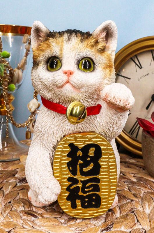 Japanese Luck And Fortune Charm Beckoning White Calico Cat Maneki Neko Figurine