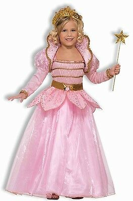 Girls Pink Rose Princess Costume Long Sleeve Fancy Dress Gown Child Kids S M L