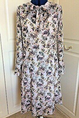 Georgette Slip (Lovely floral georgette fit & flare tie-neck dress & slip UK 16 by Kaleidoscope)