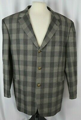 Versace Classic V2 Men's Sport Coat Blazer Size 46 Regular Plaid Check Wool Cool