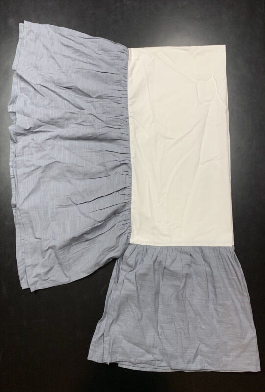 Restoration Hardware Baby Washed Linen Cotton Crib Skirt Ocean Blue Boy Girl