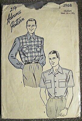 1940s Men's Shirts, Sweaters, Vests Vtg 1940's Advance Men's Casual Shirt 2 Sleeve Length Pattern #3968 Sz Medium $4.99 AT vintagedancer.com