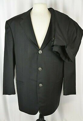 Istante By Versace Men's Suit Size 56 EU Black Three Button 46 US Pleated Wool