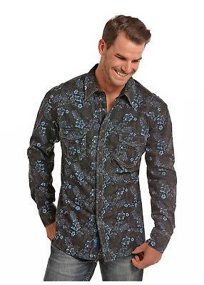 Rock & Roll Cowboy Men's Black & Blue Floral Snap Up Western Shirt B2S6021 (Western Rock)