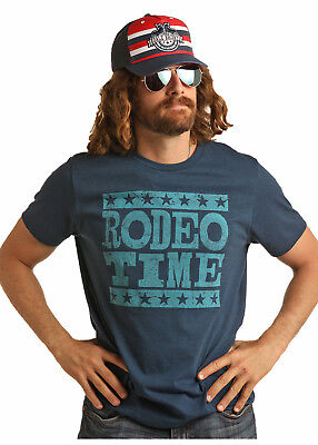 Rock & Roll Cowboy Men's Dale Brisby Navy Rodeo Time Tee Shirt P9-9018  SALE!!