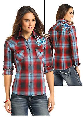 Light Blue Plaid Shirts (Panhandle Slim Women's Red & Light Blue Plaid Snap Up Shirt R4S7595  SALE!!!)