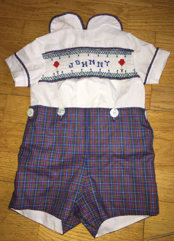 Vintage 9-12M Johnny Hand Smocked Balloon White & Plaid Sun Suit Baby Outfit Boy