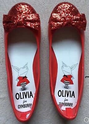 Gymboree Olivia the Pig Glitter Ballet Flats, Size 1, Red, Sparkly, Slip-On -NEW ()