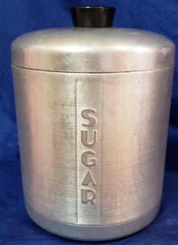 1950's Spun Aluminum Silver Sugar Kitchen Container Canister Jar MCM Old Vintage
