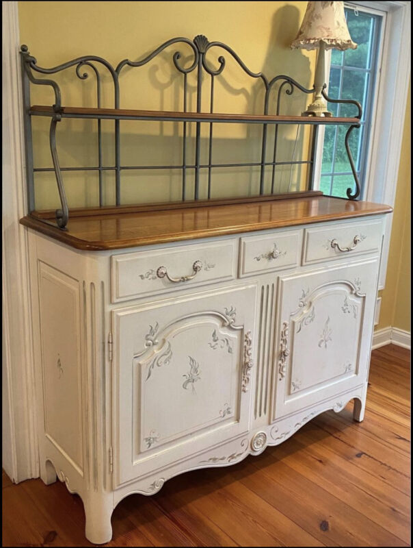 Ethan Allen Country French Legacy Iron Baker's Rack Sideboard Ivory Floral