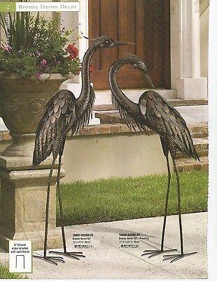 Garden Decor Bird Statuary -  Bronze Heron Set Up & Down - Regal Art 10867/68