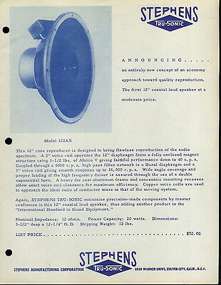 Rare Vintage Collectible Stephens Tru Sonic Speaker Dealer Brochure Info Ad