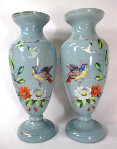 PAIR HAND-PAINTED BRISTOL BLUE/GRAY VASES BIRDS & FLOWERS