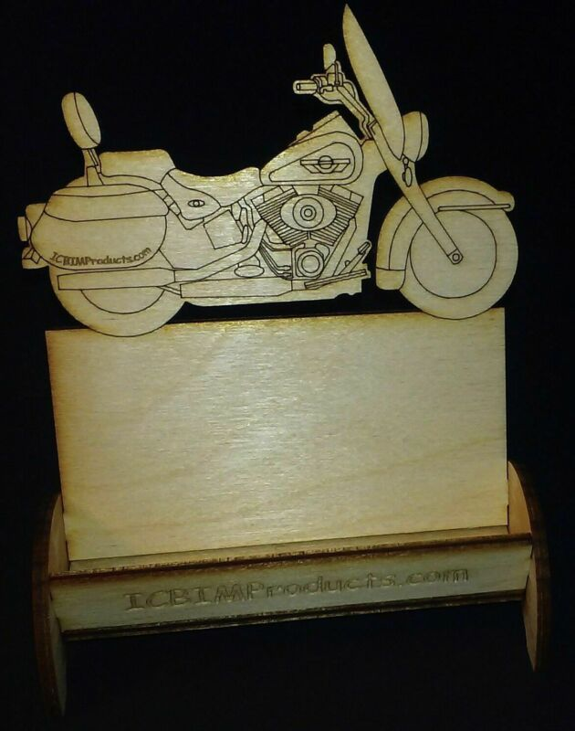 """Laser Cut 1/8"""" Birch Plywood Classic MotorCycle Business Card Holder, U-Assemble"""