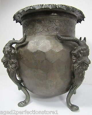 Antique 19c Victorian Rams Head Figural Urn Pot exquisite ornate high relief dtl