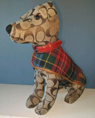 Rare COACH Stuffed TOY DOG - Signature C Logo W/ Red Collar & Plaid Coat - #8443