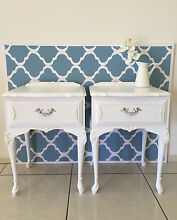SOLD pending pickup - Pair French Louis XVI Style Bedside Tables White Cashmere Pine Rivers Area Preview