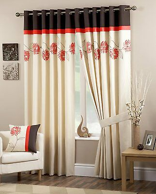 PANDORA SPICE CURTAINS EYELET LINED READY MADE EMBROIDERED FLOWERS ORANGE BROWN ()