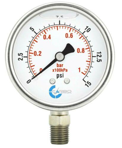 "2-1/2"" Pressure Gauge, ALL STAINLESS STEEL, Liquid Filled, Lower Mnt, 15 Psi"