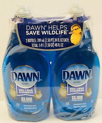Dawn Ultra Hand Dish Soap Dishwashing Liquid 24 fl oz each 2 Big Bottles New