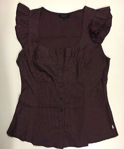 Cue Deep Maroon Fitted Office / Work Blouse Peppermint Grove Cottesloe Area Preview