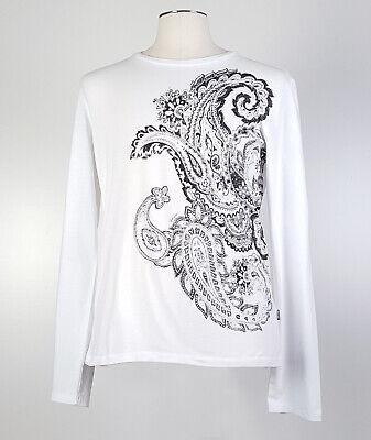 Just Cavalli sz M White Paisley Long Sleeve T Shirt