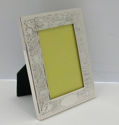 Fine Italian 925 Sterling Silver Handmade Glossy Beaded Picture Frame