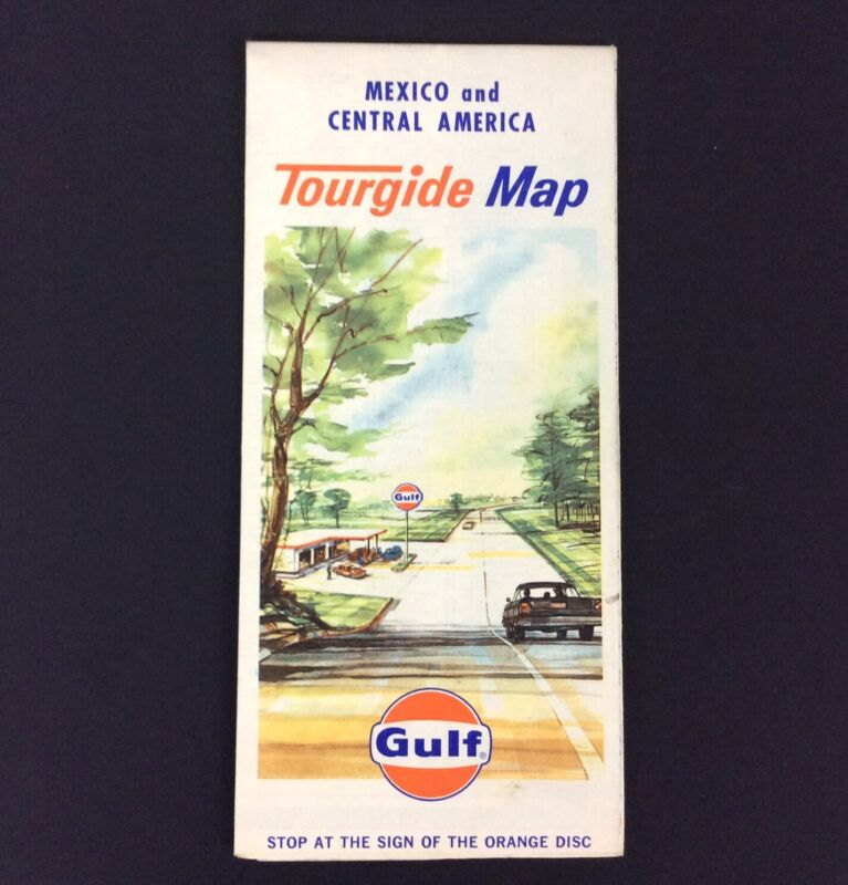 Gulf Tourguide Map Mexico and Central America Vtg 1967 Travel Tourism History