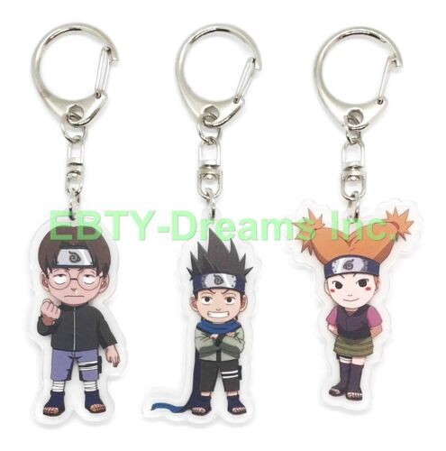Set of 3 Naruto Anime Acrylic Keychain Konohamaru Sarutobi, Udon Ise, Moegi