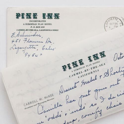 Vintage Letter Pine Inn Carmel By the Sea Envelope Letterhead 1967