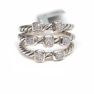 NWT DAVID YURMAN Silver & Diamond Confetti Narrow 3 Row Ring Size 7
