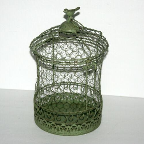 Vintage Metal Round Bird Cage Planter Decorative Home Decor Shabby Chic Green
