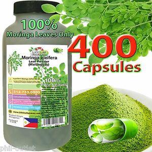 400 capsules MORINGA OLEIFERA LEAF powder (Malunggay) -PHIL-  FREE SHIP (B)