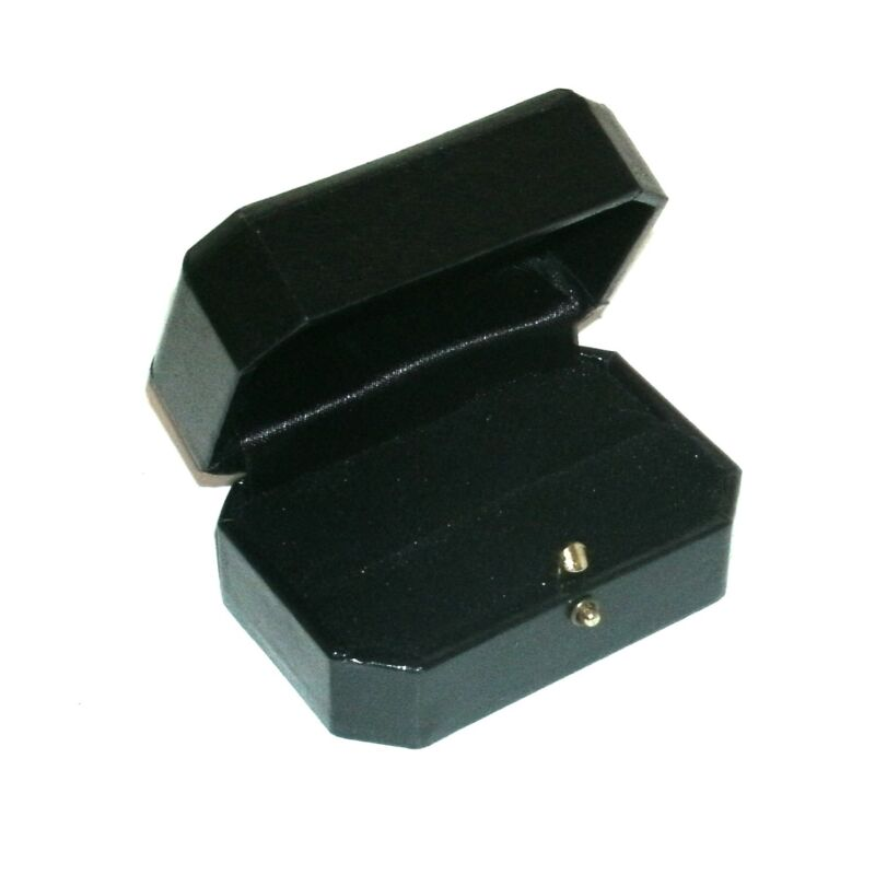 12 Black Cut Corner Dual Ring Engagement Jewelry Packaging Gift Boxes