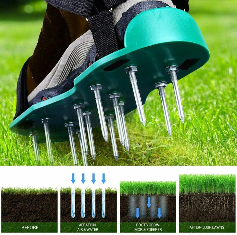 Garden Punchau Lawn Aerator Shoes with Metal Buckles and 3 Straps Fit Any Shoes