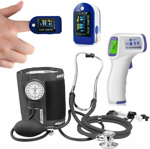 Thermometer Pulse Oximeter Blood Oxygen SpO2 Monitor Blood Pressure-Stethoscope