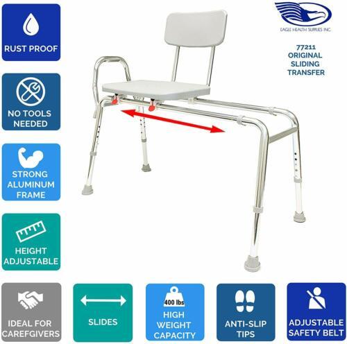 Eagle Health Supplies Sliding Transfer Bench Shower Chair (Regular) 77211