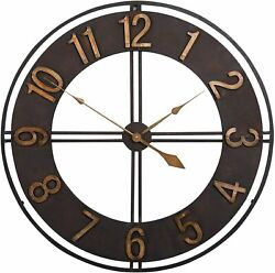 Wall Clock 30 2.5' Large Analog Bronzed Antiqued Shabby Chic Industrial Modern
