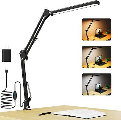 Desk Lamp With Clamp, Aepto Led Swing Arm Table Lamps, 10W Eye-Care Dimmable New